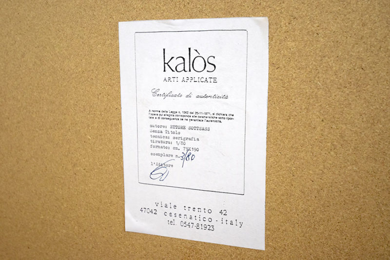 Kalos arti, Zertifikat Ettore Sottsass