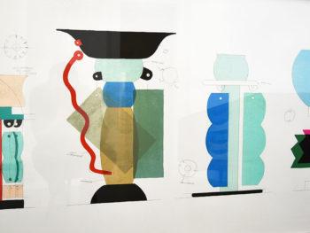 Sérigraphie de Ettore Sottsass pour Kalos, 1986, vases Memphis