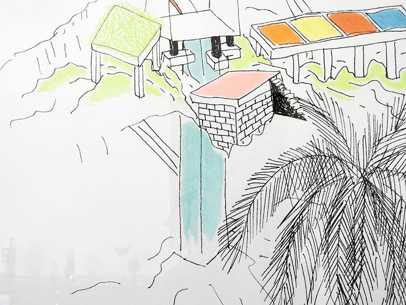Sérigraphie de Ettore Sottsass, Kalos Arti, 1986, architecture