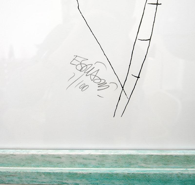 Sérigraphie de Ettore Sottsass, signature, 1986, architecture