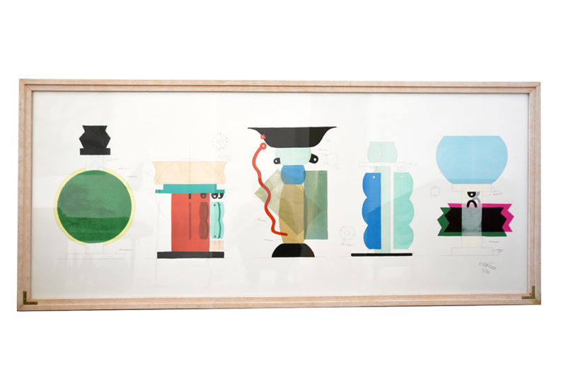 Silkscreen print by Ettore Sottsass, Kalos Arti, 1986, Memphis vases