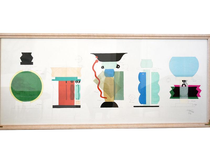 Sérigraphie de Ettore Sottsass, Kalos Arti, 1986, vases Memphis